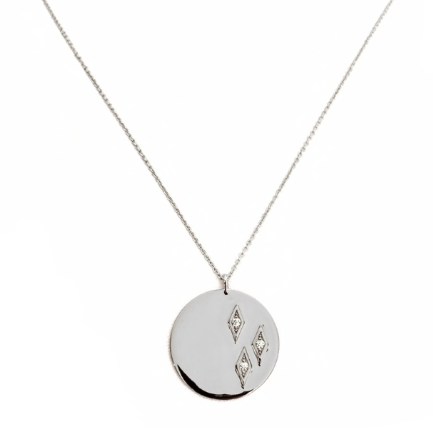 Geo Diamond Coin Necklace