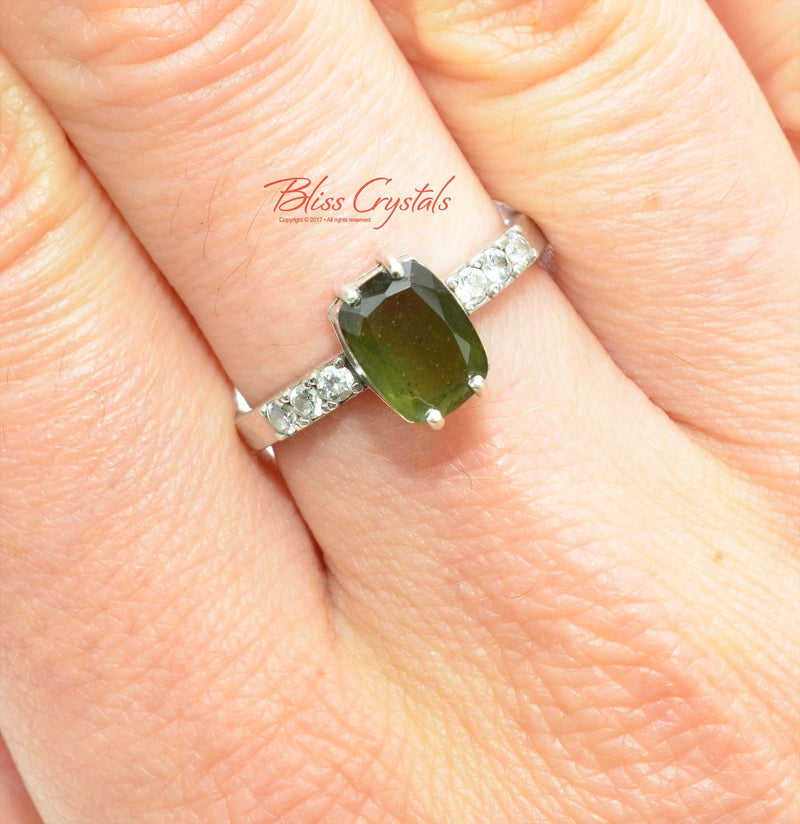 "Genuine MOLDAVITE Ring Faceted ""Rectangle"" Gem Cut w COA Healing Crystal and Stone Jewelry #MR02"