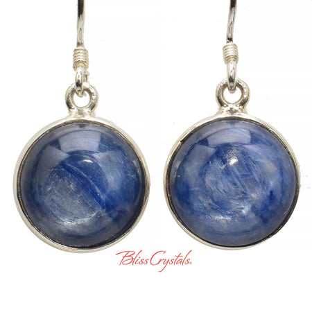 Gem Blue Kyanite Earrings Round Cabochon Style in Sterling Silver #BK53 #shrm