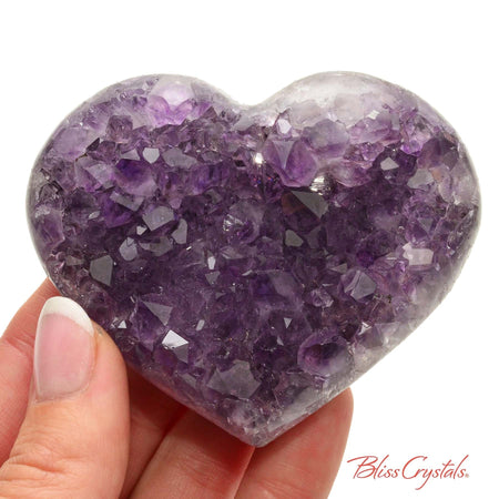 2.9 inch AMETHYST Heart Polished Edge Geode + Stand for Meditation #AH48