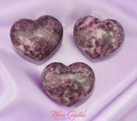 1 Lepidolite with Lithium Puffy Heart Size Large #LH02