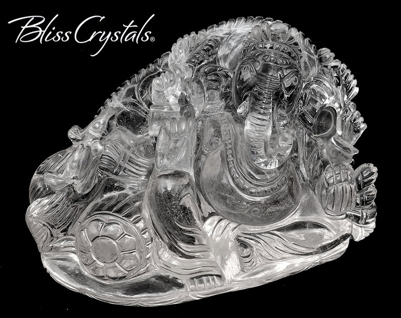 Sacred LORD GANESH Quartz Carving, Hindu God Sri Ganesha Remover of Obstacles Natural Healing Crystal and Stone Sculpture #QG04 #shrm