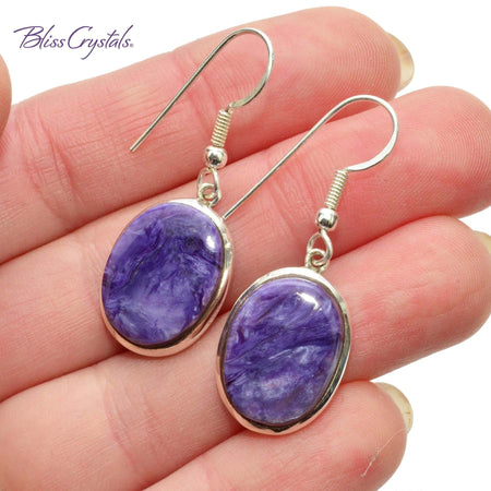 Charoite Oval Cabochon Style Earrings in Sterling Silver #CE15 #shrm