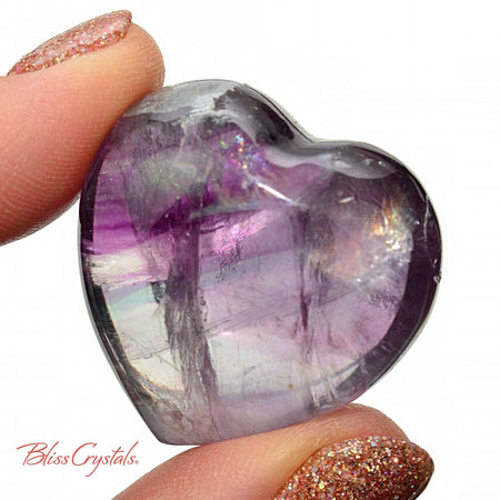 Gemmy! 1.2 inch FLUORITE Puffy Heart + Bag Purple Rainbow for Focus Concentration #FH18