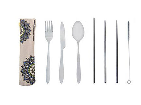 Re-usable Cutlery Set - Stainless Steel Fork Spoon Knife Straw Chopsticks + Case #CT20
