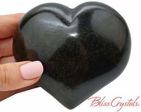 "3.5"" BLACK TOURMALINE Heart + Stand, 1 lb Polished Healing Crystal and Stone for grounding #BT81"
