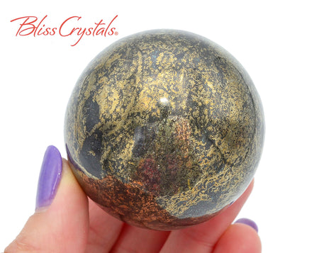 1.9 inch PYRITE HEMATITE Sphere + Stand Healing Crystal and Stone #PS68