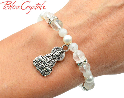 1 Rainbow Moonstone, Clear Quartz & Pearl Quan Yin Charm 8 mm Beaded Stretch Crystal Bracelet #QB11