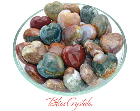 1 OCEAN JASPER Heart Polished Stone 1.2 inch Healing Crystal and Stone #JH02