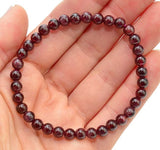 1 RED GARNET Bracelet 6mm Stretch Elastic Crystal Jewelry for Passion #DB23