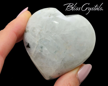 "White MOONSTONE Heart w Flash 2.2"" Sacred Feminine Goddess Energy #MH06"
