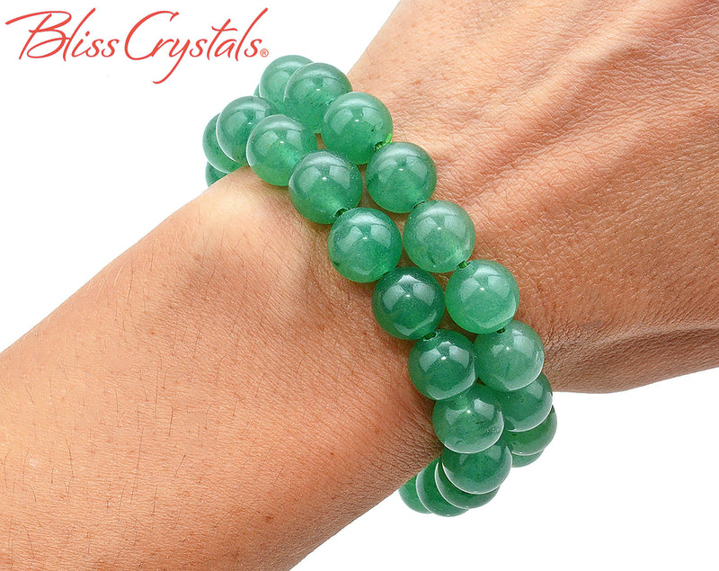 1 Green Aventurine Stretch Bracelet, 10 mm Polished Beaded Crystal Jewerly #AB71