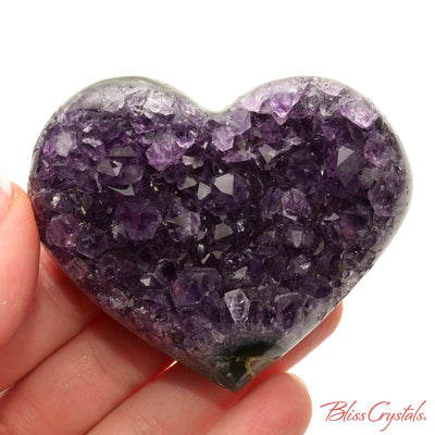 2.7 inch AMETHYST Heart Polished Edge Geode + Stand for Meditation #AH42 #shrm