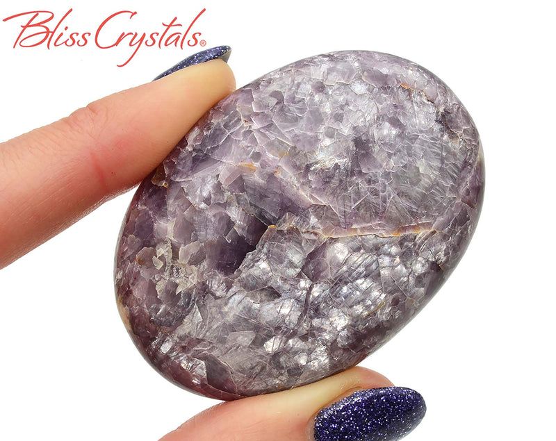 Gem LEPIDOLITE Polished 2.2 inch Palm Stone Healing Crystal and Stone #LP92