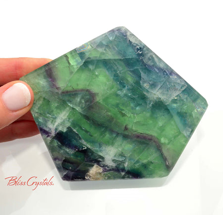 14 oz Thick Green & Blue FLUORITE Polished Polygon Slab 4.2 inch Memory, Focus, Protection #FS30