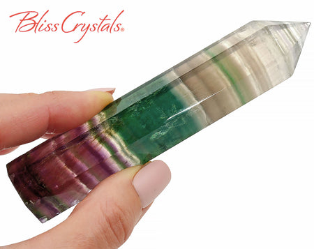"4"" Rainbow FLUORITE Generator Point for Focus #FT06"