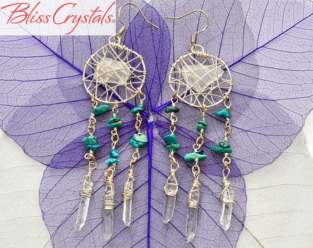 1 Pair of Turquoise + Clear Quartz + Sea Glass wire wrapped Dreamcatcher Earrings #DE02