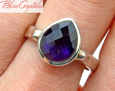 Amethyst Ring Size 8 Faceted Teardrop Shape Healing Crystal and Stone #AR48