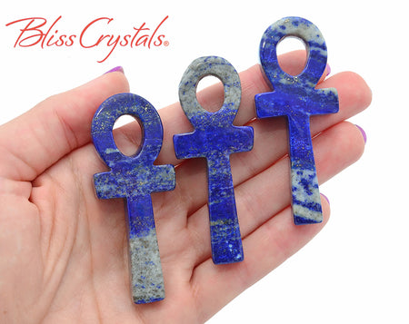 2.6 inch Lapis Lazuli Ankh Carving for display or pendant #LA09