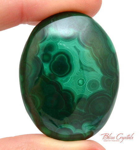 MALACHITE Cabochon 1.5 inch Polished Crystal Palm Worry Stone Jewelry Crafting Healing Crystals and Stones #MC43