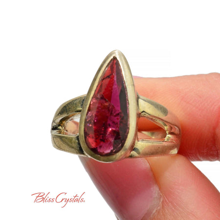 Pink Tourmaline Ring Size 8 Teardrop Faceted Stone Crystal Jewelry #PR09 #shrm