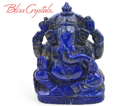 1 lb Sacred LORD GANESH Lapis Lazuli Carving Hindu God Sri Ganesha Remover of Obstacles Healing Crystal and Stone Sculpture #GL10