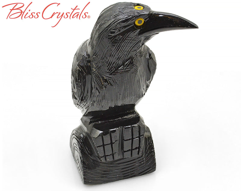 "1 Onyx 4"" Raven Three Eyed Crow Hand carved Stone Bird Sculpture Totem #BR22"