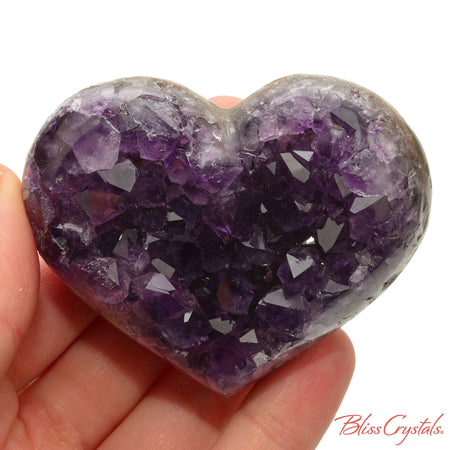 2.6 inch AMETHYST Heart Polished Edge Geode + Stand for Meditation #AH40 #shrm