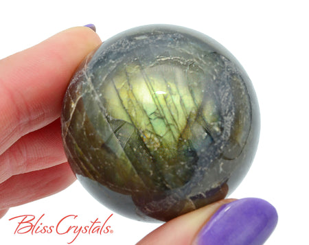37 mm LABRADORITE SPHERE + Stand for Creativity #LS64