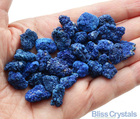 Set of 2 Blue Azurite (2 gm ea) Druzy Rough Mini Cluster Mineral from Afghanistan - Jewelry & Crafts, Medicine Bag, Crystal Healing #S2