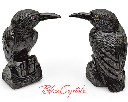 "3.2"" Onyx Raven Crow Hand carved Stone Bird Sculpture Totem #BR15"