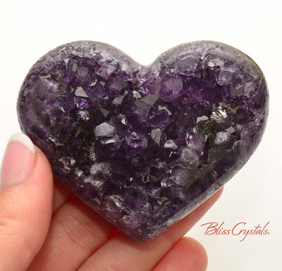 2.7 inch AMETHYST Heart Polished Edge Geode + Stand for Meditation #AH45