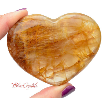 3.3 inch Gold Hematoid QUARTZ Polished Heart + Stand aka Madagascar Quartz #YH01