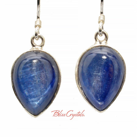 Gem Blue Kyanite Earrings Cabochon Style in Sterling Silver #BK54 #shrm