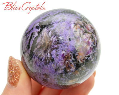 CHAROITE Sphere 45 mm + Stand Healing Crystal and Stone #CS65 #shrm