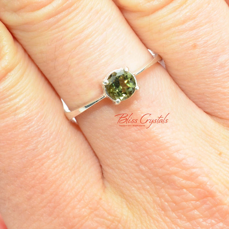 Stunning! Genuine MOLDAVITE Ring Round Faceted Gem Cut Stone w COA Healing Crystal and Stone Jewelry #MR08