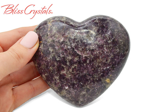 "3.3"" Lepidolite Polished Heart + Stand Healing Crystal and Stone #LH37"
