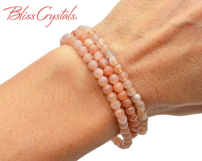 1 PEACH MOONSTONE Bracelet 4mm Beaded Stretch Crystal Jewelry #PM60