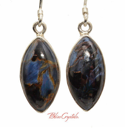 Pietersite Earrings Marquise Cabochon Style in Sterling Silver #PE01 #shrm