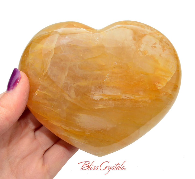 1 lb Yellow Hematoid QUARTZ Polished Heart + Stand aka Madagascar Quartz #YH02