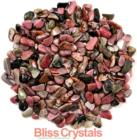250 RHODONITE Mini Tumbled Stones 1/4 lb Package - Healing Crystals, Medicine Bag, Reiki, Wicca, Metaphysical, Jewelry & Crafts #RM20