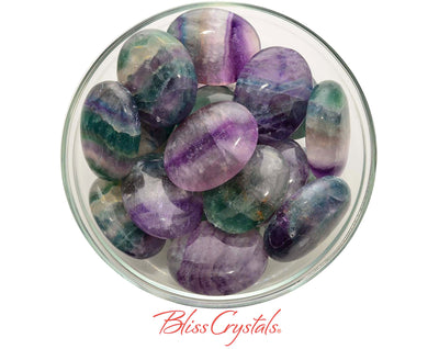 1 Rainbow FLUORITE Palm Stone Oval for Focus Concentration #FP50