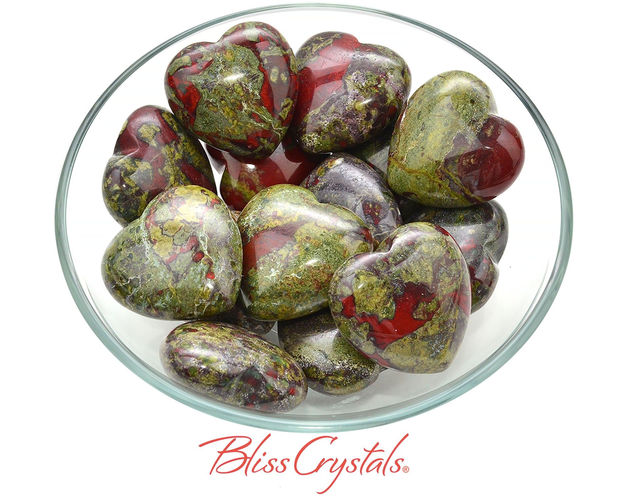 1 DRAGON Blood Stone Heart + Bag Crystal Green and Red Jasper Healing Crystal and Stone for Courage #DB04