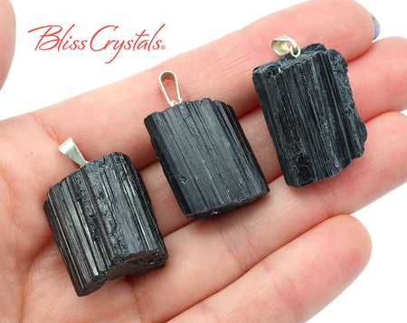 1 BLACK TOURMALINE Raw Pendant Medium Wide size Silver Bale #BP48