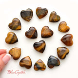"1 Gold Tiger's Eye Mini Pocket Size Heart .75"" Stone Jewelry & Crafts Healing Crystal and Stone Prosperity Power Courage #GH01"