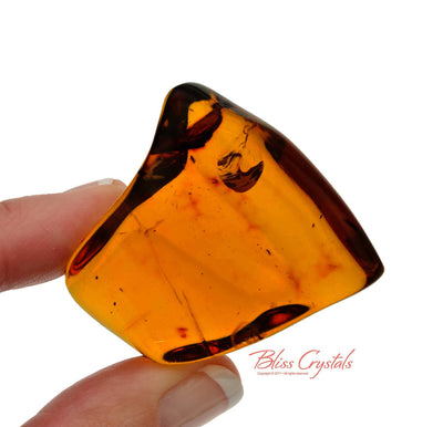1.9 inch Pure RED AMBER Polished Stone Genuine Mayan Golden Crystal #RA25