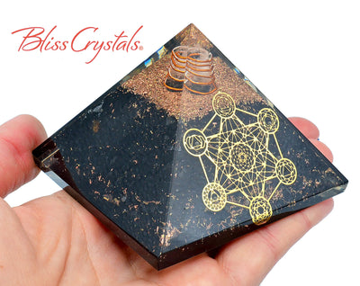 SHUNGITE Metatrons Cube Orgone Pyramid + Copper Healing Crystal and Stone #SP81
