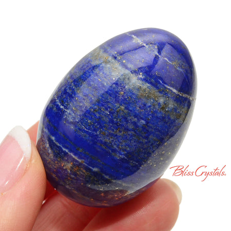 29 mm LAPIS LAZULI Pyrite Polished Egg + Stand #LE11