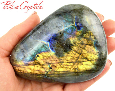 "3.8"" LABRADORITE Polished Flat Palm Stone with Purple Flash, Healing Crystal and Stone #LS89"