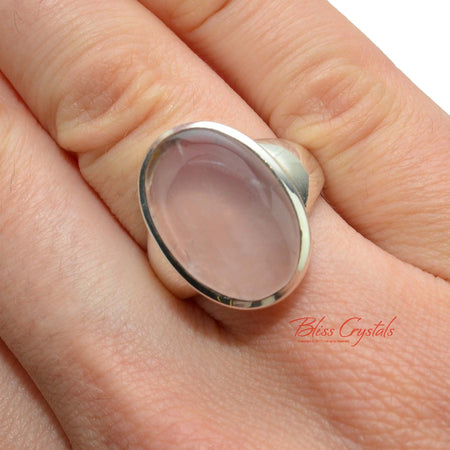 ROSE QUARTZ Ring Size 6.5 Oval Shape Stone Healing Crystal and Stone Jewelry #RR02